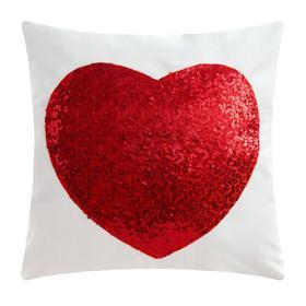 """Чехол на подушку Этель """"Сердце"""" цв. красный,40 х 40 см, велюр"""