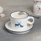 "Tea couple 250 ml ""reindeer"", saucer 11 cm, spoon, pattern MIX"