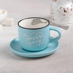 """Чайная пара 180 мл """"Доброе утро"""", блюдце 10,5 см, ложка, рисунок МИКС"""