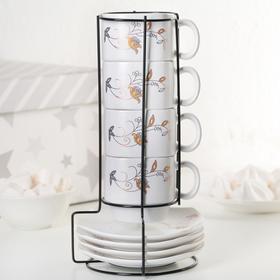 Набор чайный «Цветок», 8 предметов: чашка 180 мл, блюдце 11 см