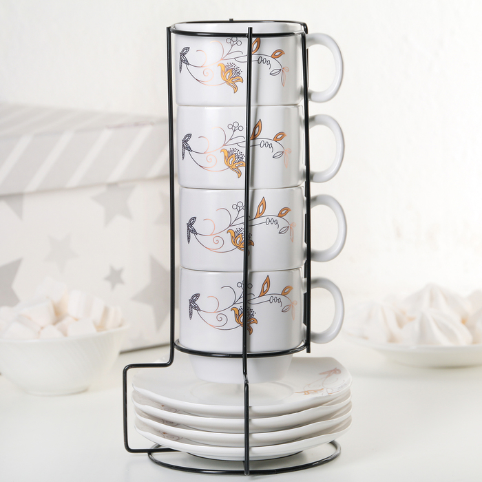Набор чайный «Цветок», 8 предметов: чашка 180 мл, блюдце 11 см - фото 798134718