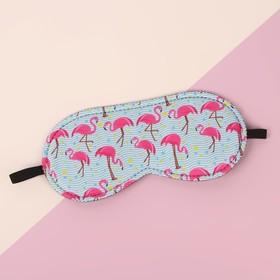 Маска для сна «Фламинго», 19,5 × 8,5 см, резинка одинарная, цвет МИКС - фото 4638849