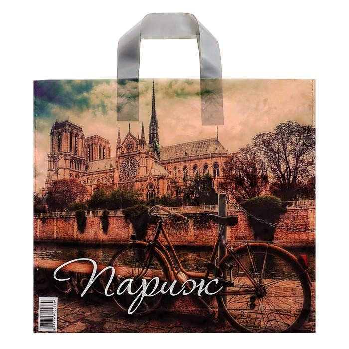 """Пакет """"Ретро Париж"""", полиэтиленовый с петлевой ручкой, 38х35 см, 85 мкм - фото 185783140"""
