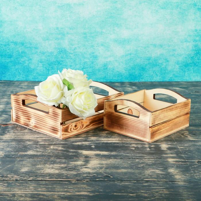 """Набор кашпо деревянных подарочных """"Эталон"""", 2 в 1, ручки вырезы боковые, экзотик - фото 7430833"""