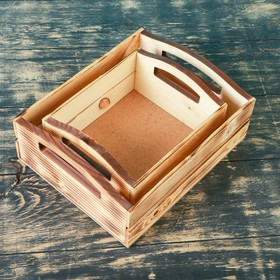 """Набор кашпо деревянных подарочных """"Эталон"""", 2 в 1, ручки вырезы боковые, экзотик - фото 7430834"""