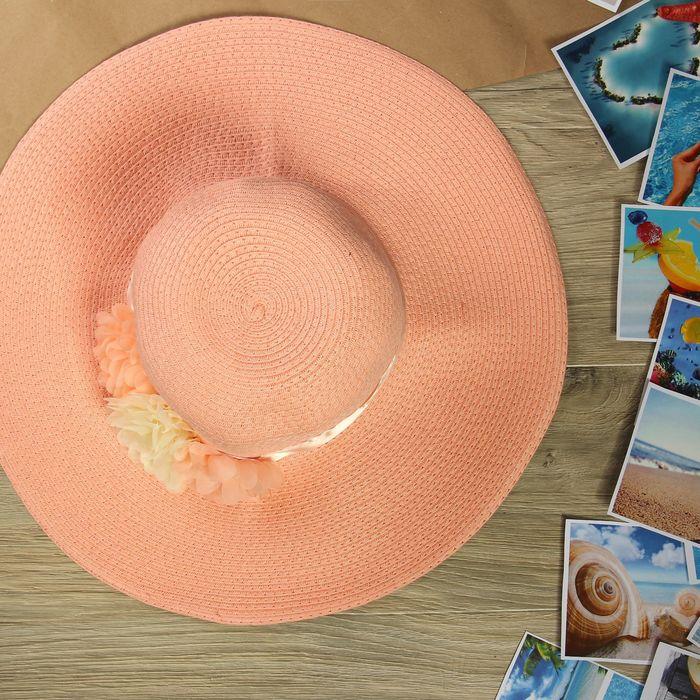 """Шляпа пляжная """"Цветы"""", цвет розовый, обхват головы 58 см, ширина полей 12 см"""