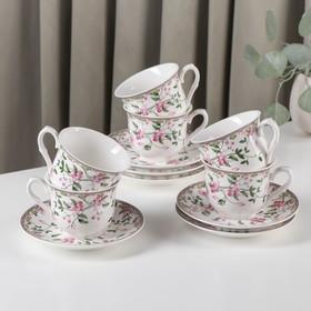 Сервиз чайный Доляна «Бланко», 12 предметов: 6 чашек 220 мл, 6 блюдец