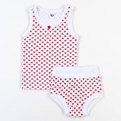 Комплект для девочки (майка с плечом, трусы), рост 68 см (44), цвет белый
