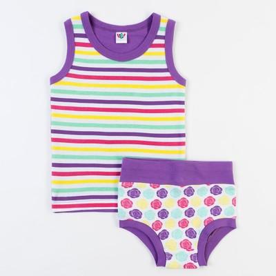 Комплект для девочки (майка с плечом, трусы), рост 74 см (48), цвет белый/сиреневый