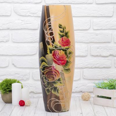 """Ваза """"Розовые розы"""" d-13см,  50 х16 см"""