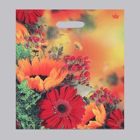 """Пакет """"Осенние цветы"""", полиэтиленовый с вырубной ручкой, 31 х 40 см, 60 мкм"""