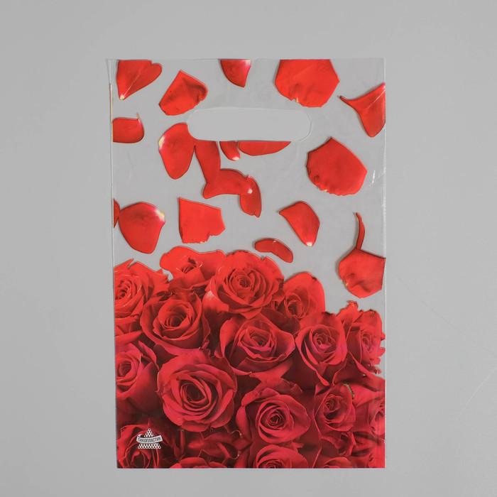 """Пакет """"Лепестки роз NEW"""", полиэтиленовый с вырубной ручкой, 20 х 30 см, 30 мкм - фото 306509705"""