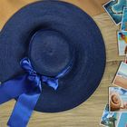 """Шляпа пляжная """"Нежность"""" с атласным бантом, цвет синий, обхват головы 58 см, ширина полей 13 см"""