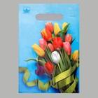 """Пакет """"Тюльпаны"""", полиэтиленовый с вырубной ручкой, 30х20 см, 30 мкм"""