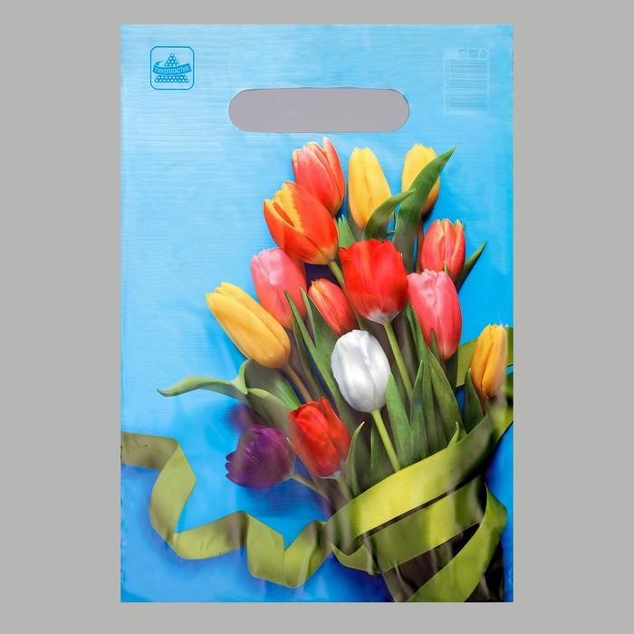 """Пакет """"Тюльпаны"""", полиэтиленовый с вырубной ручкой, 20 х 30 см, 30 мкм - фото 308292100"""
