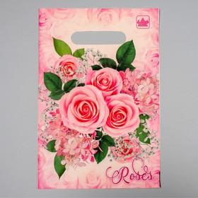 """Пакет """"Воздушные розы"""", полиэтиленовый с вырубной ручкой, 20 х 30 см, 30 мкм"""
