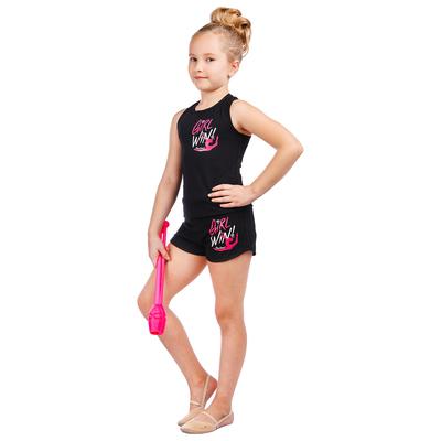 Майка-борцовка гимнастическая Girl Win, цвет чёрный, размер 30