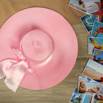 """Шляпа пляжная """"Нежность"""" с атласным бантом, цвет розовый, обхват головы 58 см, ширина полей 13 см"""