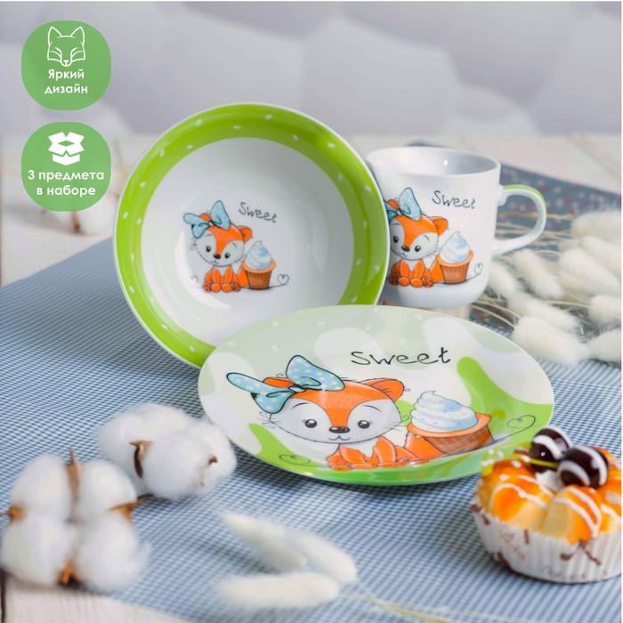 Набор детской посуды Доляна «Лисёнок», 3 предмета: кружка 230 мл, миска 400 мл, тарелка 18 см - фото 704089