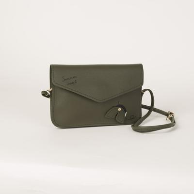 Bag, 2 Department flap, long strap, green