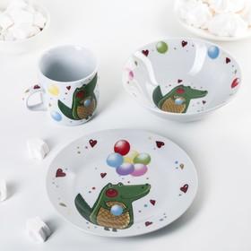 Набор детской посуды «Крокодильчик», 3 предмета: кружка 230 мл, миска 400 мл, тарелка 18 см