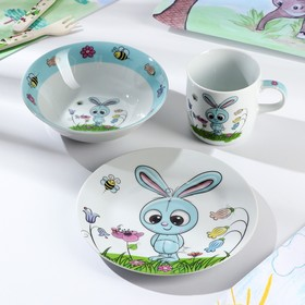 Набор детской посуды «Крош», 3 предмета: кружка 230 мл, миска 400 мл, тарелка 18 см