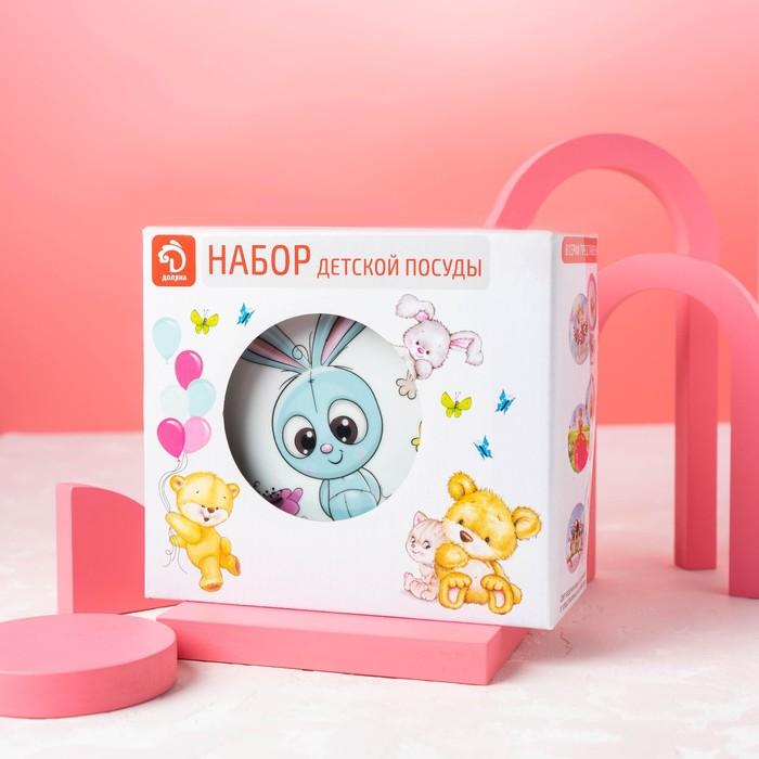 "Children's tableware set 3 items ""croche"": mug 250 ml, 400 ml bowl, saucer 18 cm"