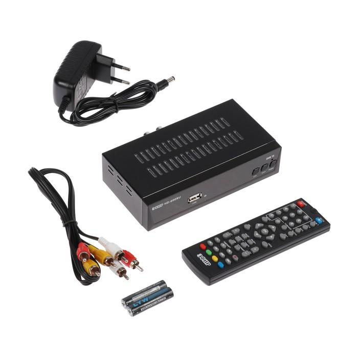 """Приставка для цифрового ТВ """"Эфир"""" HD-600RU, FullHD, DVB-T2, дисплей, HDMI, RCA, USB, черная"""