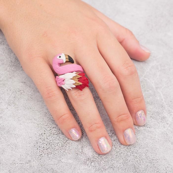 """Кольцо из полимерной глины """"Фламинго"""" - фото 685454648"""