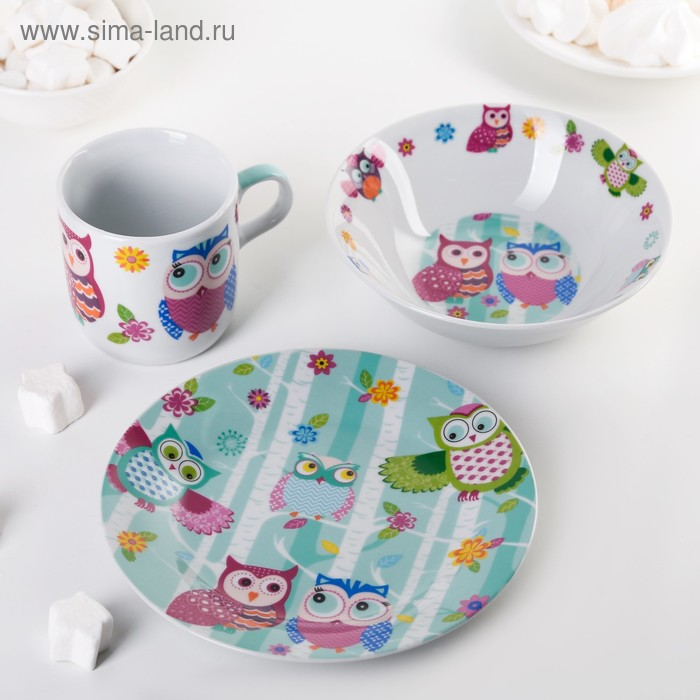 "Children's tableware set 3 items ""Sovushka"": mug 250 ml, 400 ml bowl, saucer 18 cm"