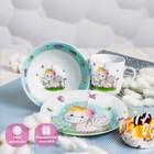 Набор детской посуды «Единорожка», 3 предмета: кружка 250 мл, миска 400 мл, тарелка 18 см - фото 968743