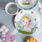 Набор детской посуды «Единорожка», 3 предмета: кружка 250 мл, миска 400 мл, тарелка 18 см - фото 968745