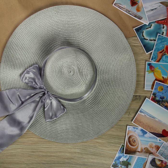 """Шляпа пляжная """"Нежность"""" с атласным бантом, цвет серый, обхват головы 58 см, ширина полей 13 см"""