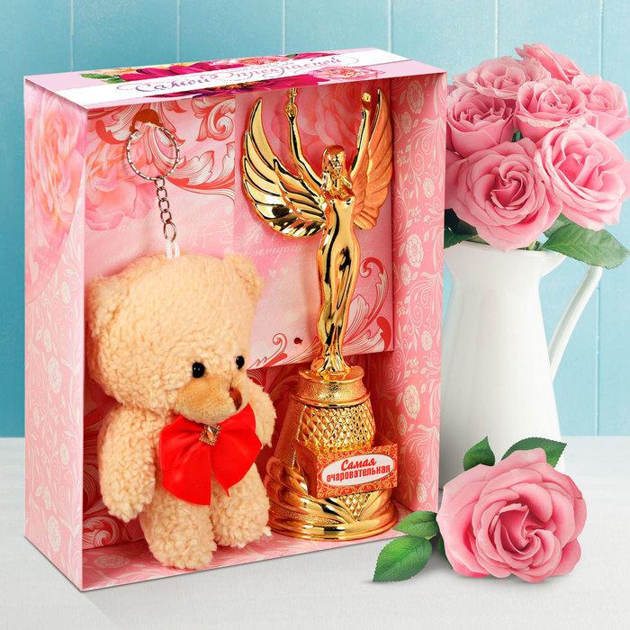 """Подарочный набор """"Самая прекрасная"""" награда h=16см, игрушка h=12 см"""