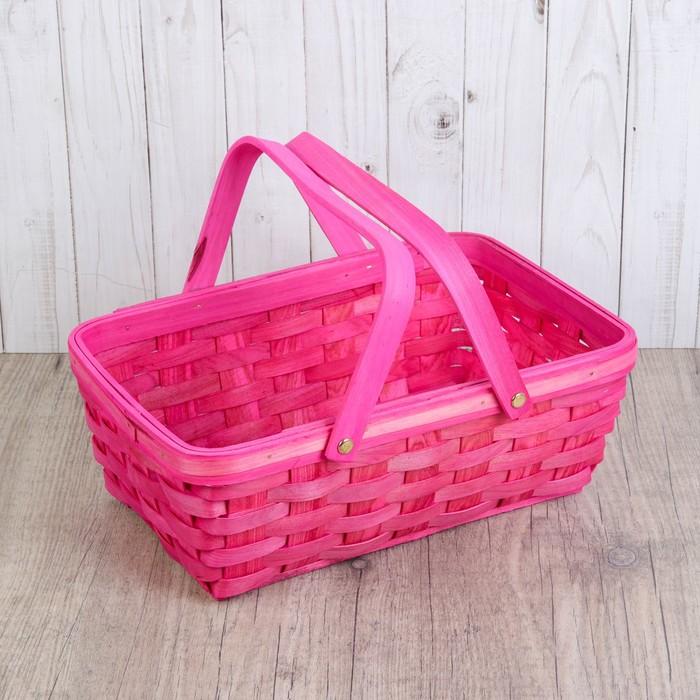 Корзинка «Лукошко», 31,5×21,5×12/25,5 см, розовая, шпон