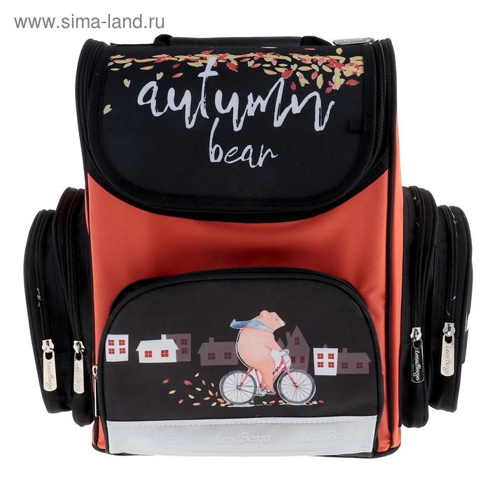 Ранец Стандарт LeonВergo Mini DS №4 36x26x17 см, Autumn bear, оранжевый
