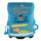 Ранец на замке LeonВergo Mini Cap №5 39*27*17, для девочки, Sealife 2, голубой