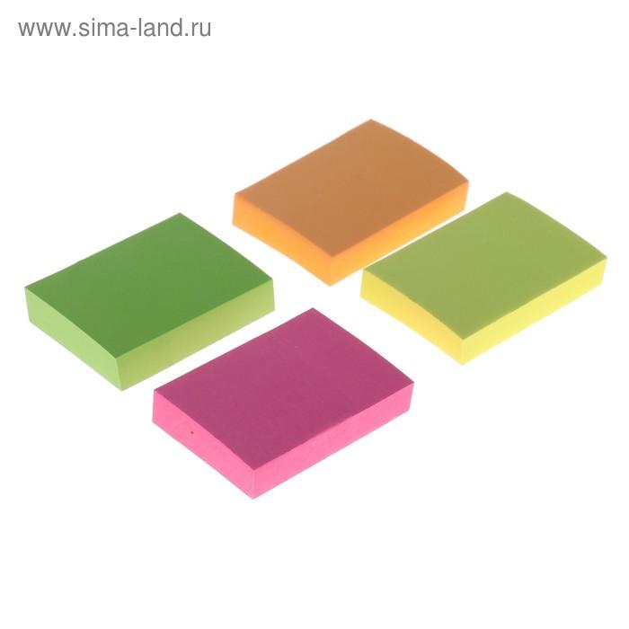 Блок с липким краем LeonВergo 38x51 мм, 100 листов, 75 г/м2, 4 цвета, неоновый, МИКС