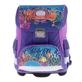 Ранец на замке LeonВergo Mini Cap №5 39*27*17, для девочки, Fish1, сиреневый