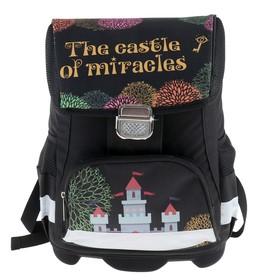 Ранец на замке LeonВergo Mini Cap №5 39*27*17, для девочки, Miracle castle, серый