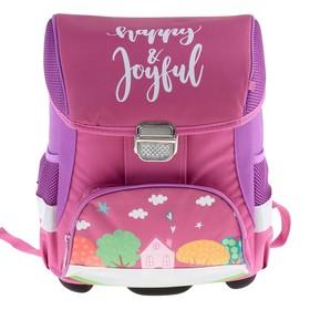 Ранец на замке LeonВergo Mini Cap №5 39*27*17 для девочки, Happy 2, розовый