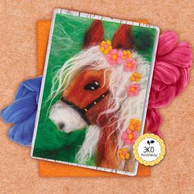 Картина из шерсти «Лошадь», А5