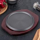 """Сковорода 22 см """"Круг спираль"""", на деревянной подставке - фото 293986299"""