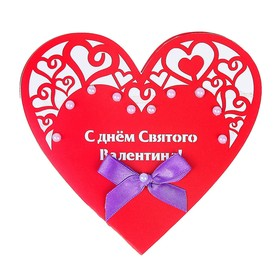 """Greeting card """"happy Valentine's Day!"""" heart, red background"""