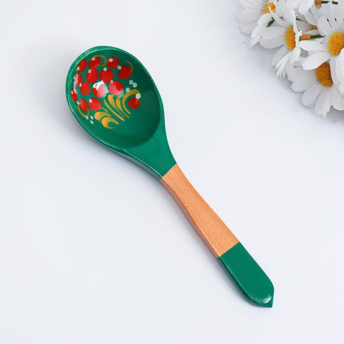 Ложка «Зеленушка», салатная, 6×21, хохлома