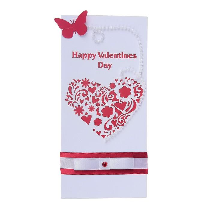 "Открытка ""Happy valentines day"" ручная работа, сердце, бабочка, евро"