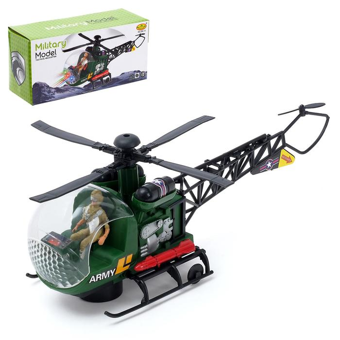 """Вертолет """"Спасатель"""", работает от батареек, световые и звуковые эффекты, МИКС"""