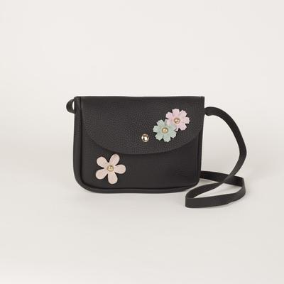 The bag Department on the flap, long strap, black