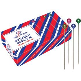 Булавки с цветной головкой, 38 мм, 100 шт, Attomex, картонная коробка