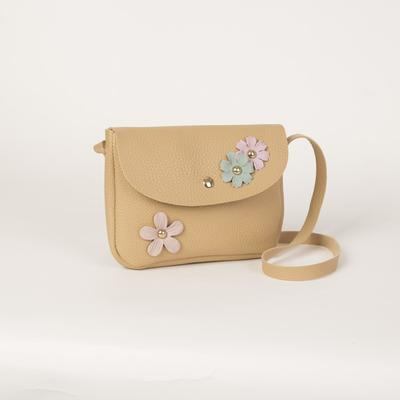 The bag Department on the flap, long strap, color beige